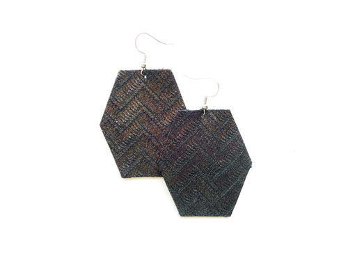 Gunmetal Silver Zig Zag Hexagon Genuine Leather Earring