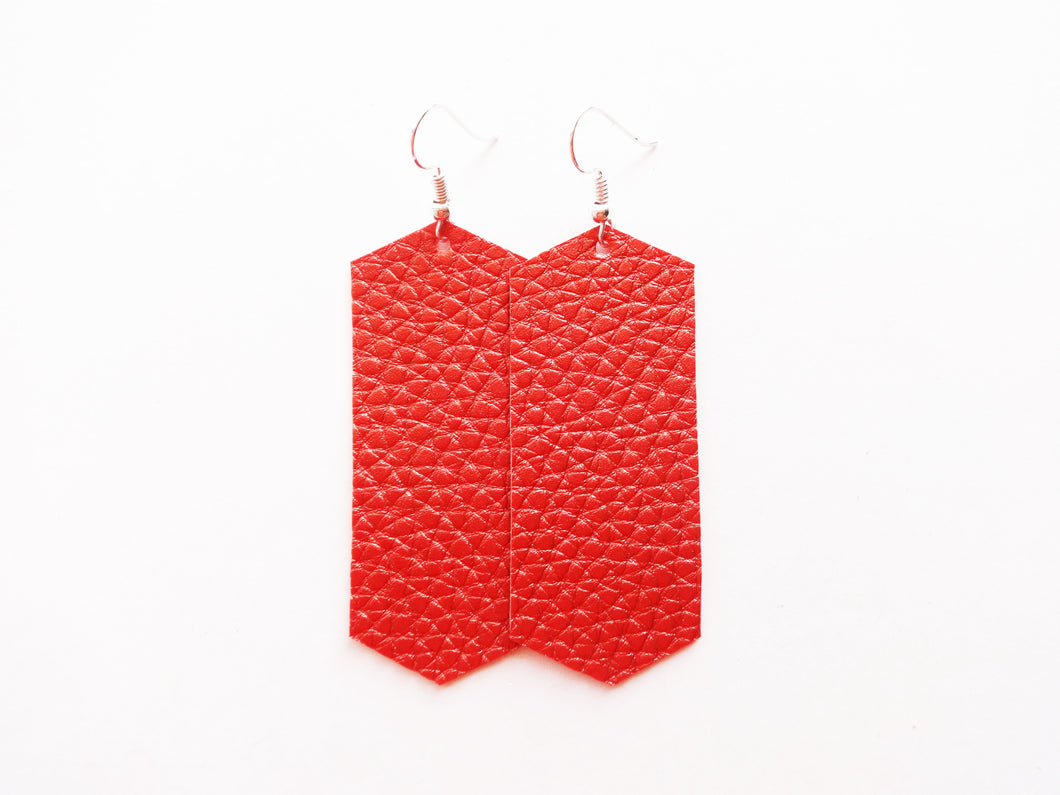 Coral Spice Crystal Vegan Leather Earring