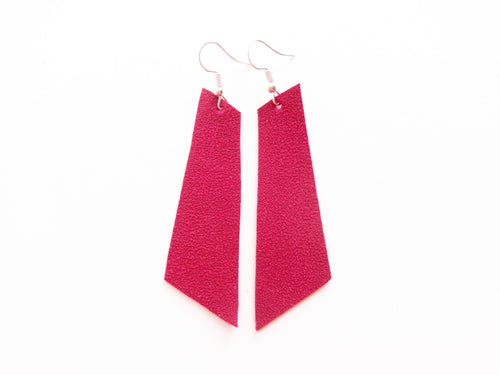 Too Hot Pink Suede Signature Vegan Leather Earrings