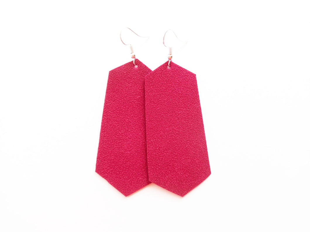 Too Hot Pink Suede Jewel Vegan Leather Earring