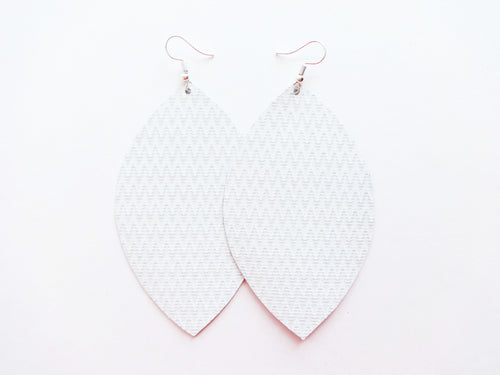 White Zig Zag Leaf Genuine Leather Earring