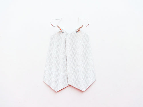 White Zig Zag Jewel Genuine Leather Earring