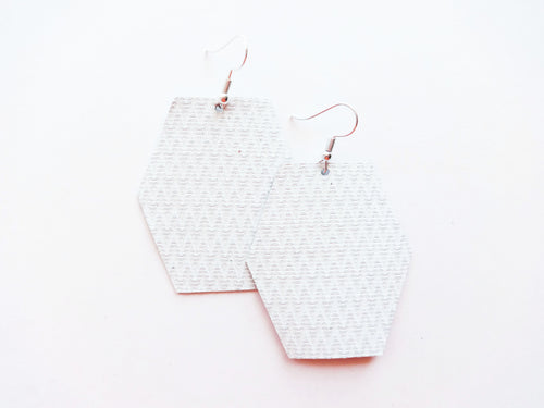 White Zig Zag Hexagon Genuine Leather Earring