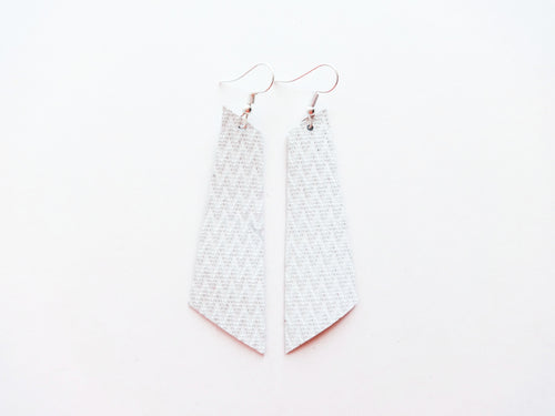 White Zig Zag Signature Genuine Leather Earrings