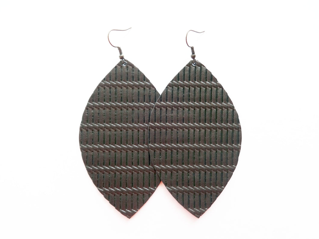 Bronze Knot Leaf Genuine Leather Earring