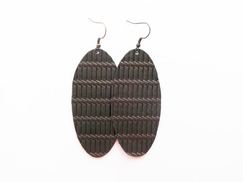 Bronze Knot Oval Genuine Leather Earring
