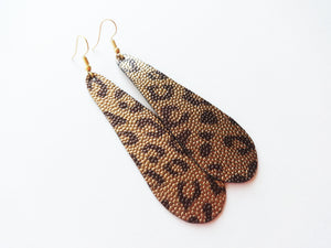 Antique Gold Leopard Teardrop Vegan Leather Earrings