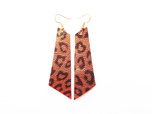 Antique Gold Leopard Signature Vegan Leather Earrings
