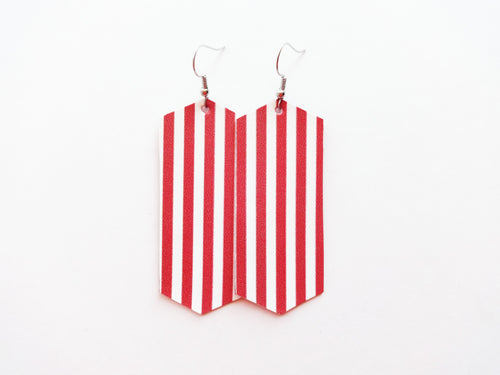 Candy Striped Crystal Vegan Leather Earring