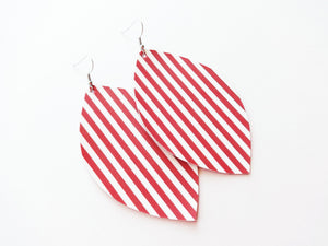 Candy Striped Leaf Vegan Leather Earrings