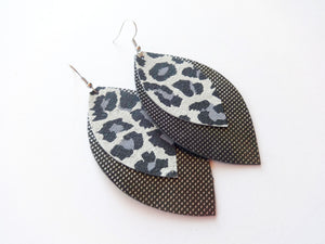 Black Leopard Double Layer Leaf Genuine Leather Earring