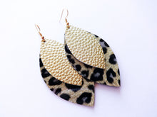 Gold Leopard Double Layer Leaf Vegan Leather Earring