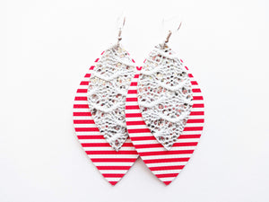 Red Stripe Glitter Double Layer Leaf Vegan Leather Earring