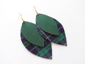 Green Plaid Double Layer Leaf Vegan Leather Earring