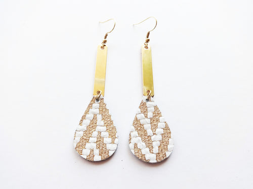 Gold Woven Bar Teardrop Genuine Leather Earring