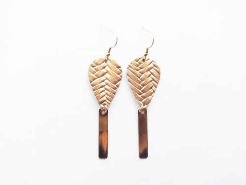 Opulent Gold Braid Teardrop Bar Genuine Leather Earring