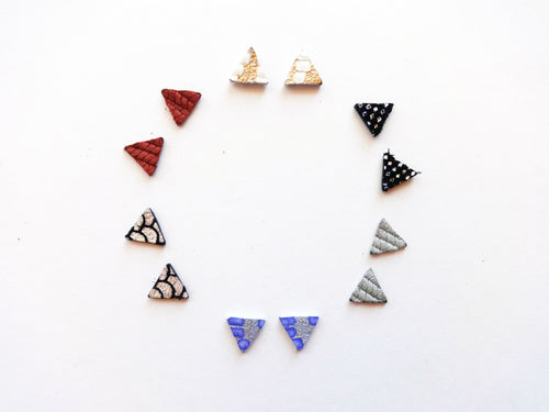 Triangle Stud Genuine Leather Earring