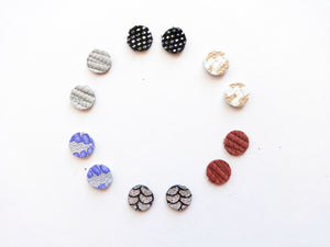 Round Stud Genuine Leather Earring