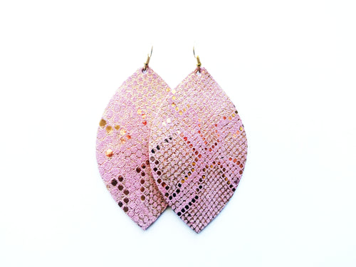Pink Snakeskin Leaf Genuine Leather Earring
