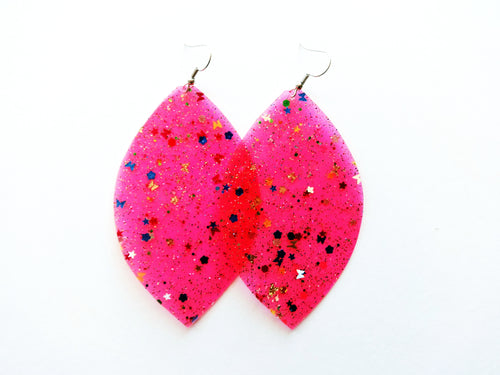 Waterproof Pink Vegan Leaf Pool Earrings