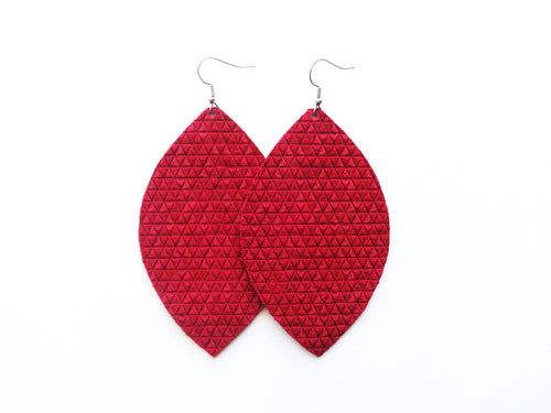 Cranberry Red Triangle Leaf Genuine Leather Earring