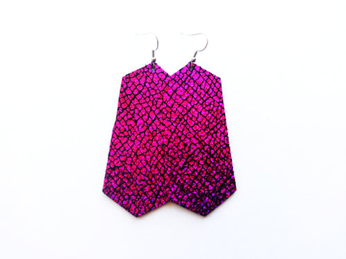 Too Hot To Handle Pink Jewel Genuine Leather Earring