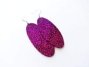 Too Hot To Handle Pink Oval Genuine Leather Earring