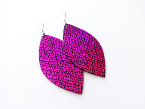 Too Hot To Handle Pink Leaf Genuine Leather Earring