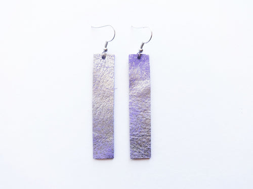 Lavender Bar Genuine Leather Earring