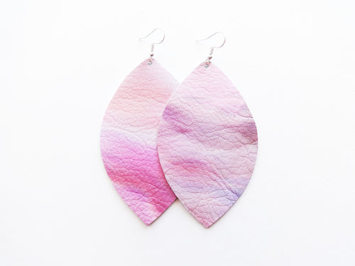 Painted Desert Pink Leaf Genuine Leather Earring