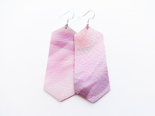 Painted Desert Pink Jewel Genuine Leather Earring