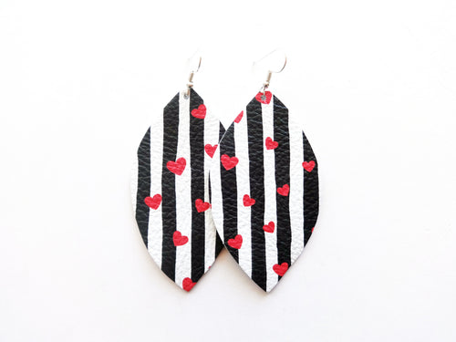Stripe It Like It's Hot Leaf Genuine Leather Earring