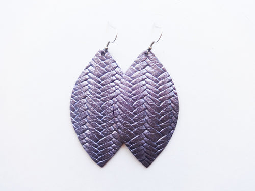 Metallic Lavender Braided Leaf Genuine Leather Earring