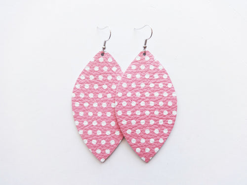 Polka Dot Pink Leaf Genuine Leather Earring