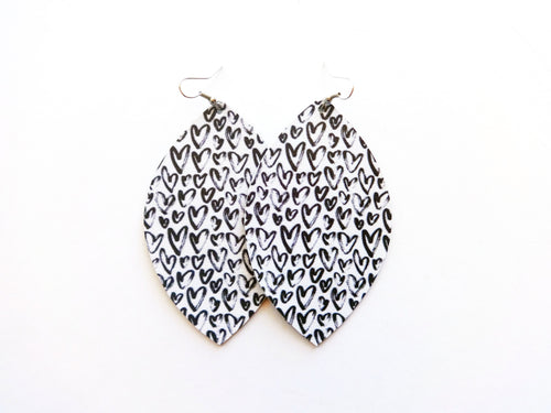Street Art Hearts Leaf Vegan Leather Earrings