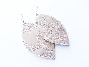 Nearly Nude Lace Leaf Vegan Leather Earrings