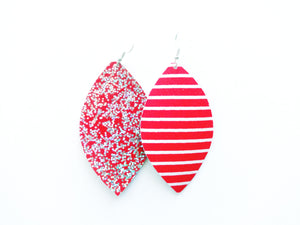 Candy Apple Glitter Leaf Vegan Leather Earrings