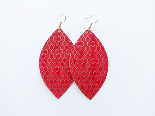 Red Honeycomb Leaf Vegan Leather Earrings