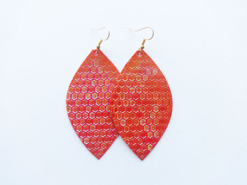 Metallic Red Honeycomb Leaf Vegan Leather Earrings