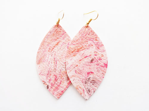 Pink Marble Leaf Vegan Leather Earrings