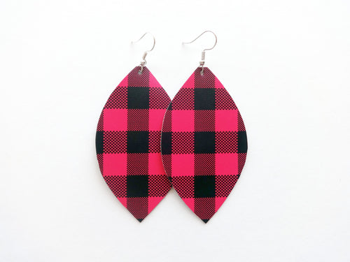 Hot Pink Buffalo Plaid Leaf Vegan Leather Earrings