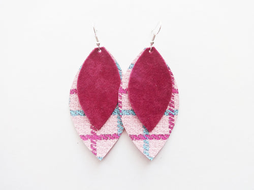 Pink Plaid Double Layer Leaf Vegan Leather Earring