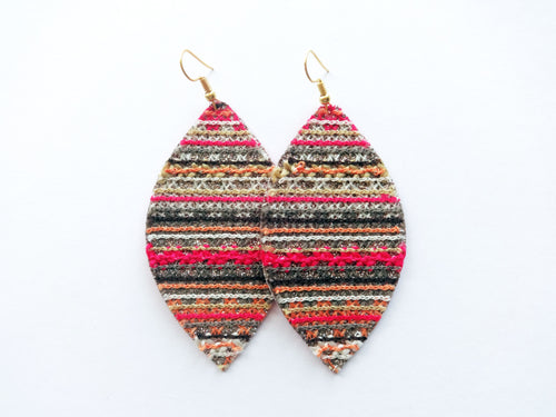 Friendship Bracelet Leaf Vegan Leather Earrings