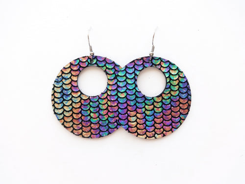 Oil Slick Cutout Halo Genuine Leather Earring