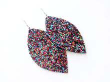 Blind Date Rainbow Glitter Leaf Vegan Leather Earrings