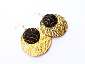 Go For Gold Double Layer Acrylic Round Genuine Leather Earring
