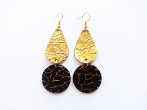 Go For Gold Teardrop Round Genuine Leather Earring