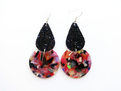 Black Glitter Rainbow Teardrop Round Vegan Leather Earring