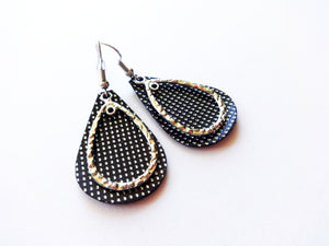 Tiny Silver Dots Double Layer Teardrop Genuine Leather Earring