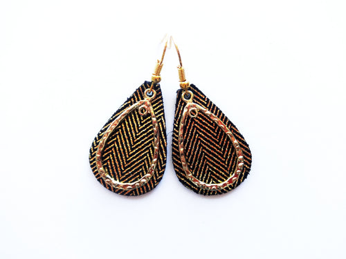 Tiny Golden Stripes Double Layer Teardrop Genuine Leather Earring